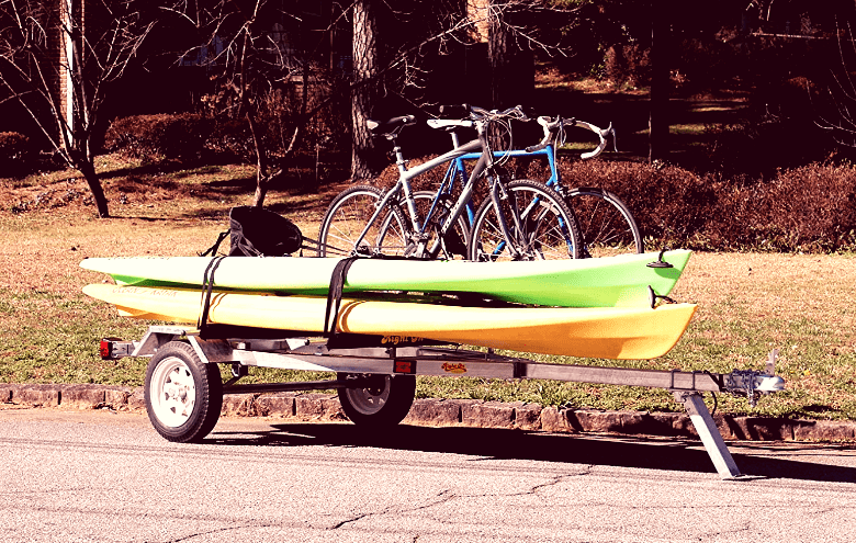 ruff sport kayak trailer with bikes and kayaks loaded